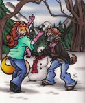 Art Trade : Taryn Lacy and Chislett's Snowman Fun by calicokatt