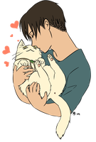Eruri: Catwin cuddles by qianying