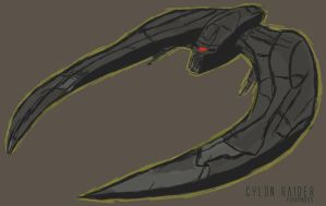 Cylon Raider Drawing by PZNS