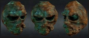 old corroded  bronze mask by chaitanyak