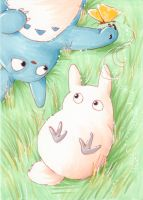 Lazy days Totoro-ACEO by Faerytale-Wings