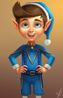 Blue Christmas Elf by victter-le-fou