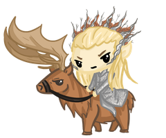 Request: Thranduil and his Elk~! by Ijen-Ekusas