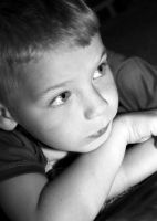 my son black and white portrait by Dom410