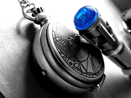 Sonic + Gallifreyan Fob Watch by Poison-Bacon