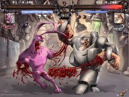 G Pig Bot vs. Roughneck Rabbit by pendric