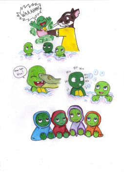 The Turtles' First Bath by KessieLou