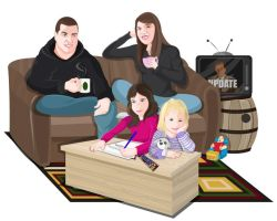 Family Caricature by CourtneyBowen