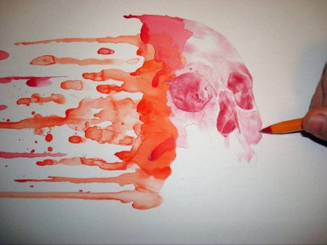skull drawing with drips 2 by PaulAlexanderThornto