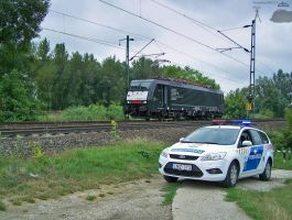 Eurosprinter and Police car between Gyor and Abda by morpheus880223