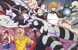 OnePunchMan- Mosquito Girl X Saitama and Genos by TheDreamVirus