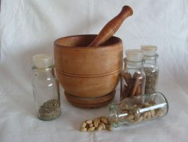 Mortar, Pestle and jars by Ptooey-stock