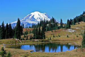 Mount Rainier with lake by Sp3nc3r-H1nds
