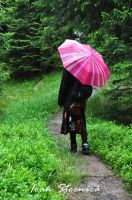 The pink umbrella by Ioan-Stoenica