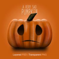 Sad Pumpkin | Layered PSD by abdelrahman