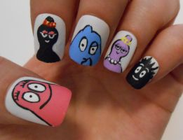 Barbapapa nails by henzy89