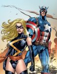 Ms Marvel And Captain America by roncolors