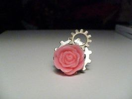 Pink Rose Gear Ring by Rainbowkitty-Designs