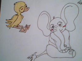 Elephant and Duck by VixenRapture