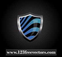 Vector Glossy Wave Striped Shield by 123freevectors