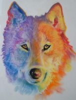 psychedelic wolf by somniacscaper