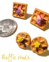 Waffle stud earrings by colourful-blossom