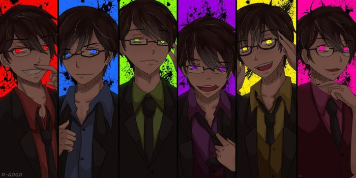 Matsuno Brothers in suits and glasses by dindagogo