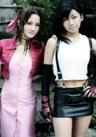 Aerith and Tifa by shirokumapancosplay