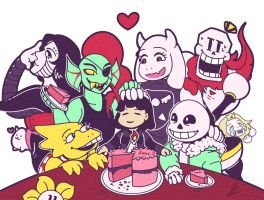 Undertale's First Birthday by miluette