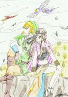 [LOZ-SS]LinkXLyra: Song of the wind by JapanZelda