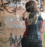 Black and red overbust back. by InnocentDevilDesigns