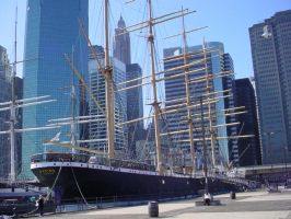 Ship With NYC buildings in bac by ArtieWallace