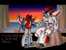 Starscream and Skyfire, sunset by WaywardInsecticon
