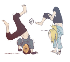 Deidara and Tobi - Handstands by alice-johnsson