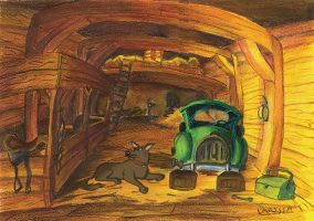 A dog in a barn by Holly-Toadstool