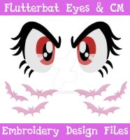 Flutterbat Eyes and CM [EMBROIDERY FILES] by TheHarley