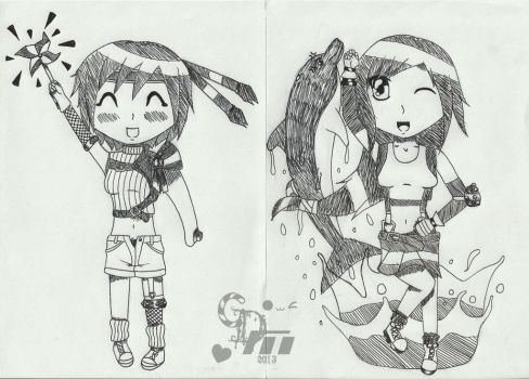 .:Yuffie and Tifa Doodles:. by CandyDeathMachine