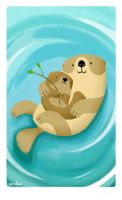 Two Otters and a Twig by minkee