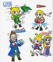 Toon Zelda characters by Hyliaman