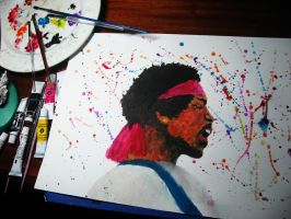 Painting of Jimi Hendrix by Finihous