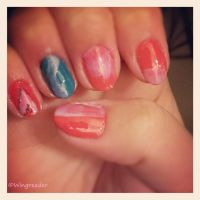 Salmon, Teal and Light Purple Oh My! by Wingreader