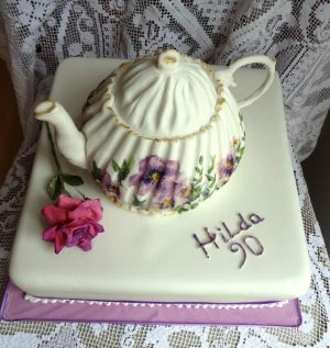 Teapot Cake for a 90th Birthday by FifiCake