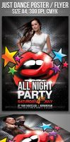 A4 All Night Party Club Flyer Template by Ondrejvasak