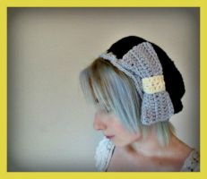 Black Crochet Beret With Over Sized Bow by Ashler-Sauce