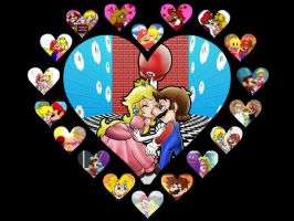 Mario and Peach hearts and hearts and... by agentbananayum