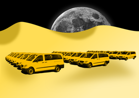 The Yellow Rows of Taxis by PomPrint