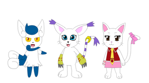 Meowstic, Gatomon and Carla by Kitsune257