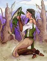Lady and her Dragon - Colored by mrm215