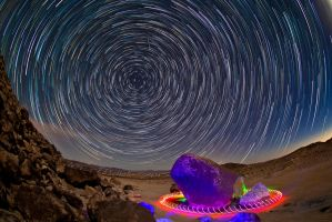 Psychedelic Startrails at Giant Rock by KevinP-Photography