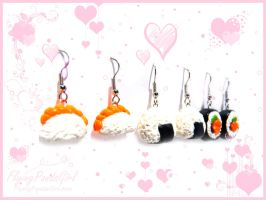 . Sushi Earrings . by FlyingPandaGirl